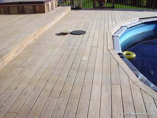 This photo shows the deck is now finished being prepped.