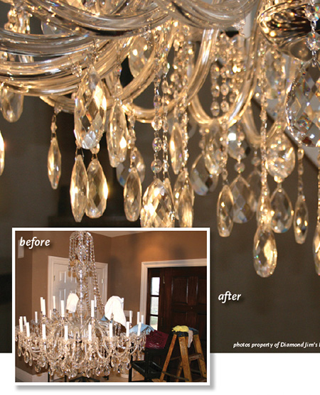We clean each crystal of your chandelier painstakingly by hand.