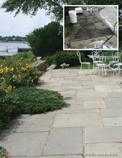 Before and after picture of cleaning a stone patio