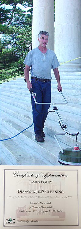 The owner, Jim Foley, participating in a large volunteer event to pressure clean the Washington Memorial in Washington, D.C.