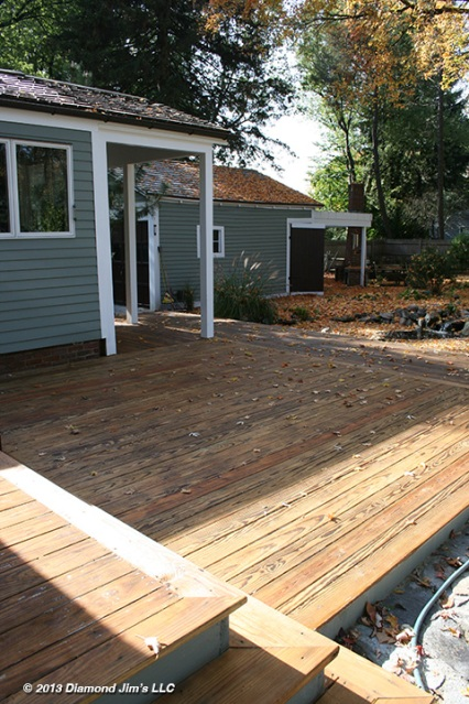 Here is the deck one day later after the oil has sunk in.