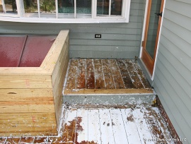Stripping pressure treated deck.