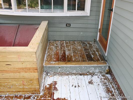 Stripping pressure treated deck.