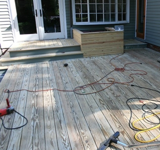 This is the sanding and buffing stage of restoring this deck.