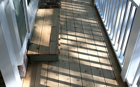 This is the cedar part of the decking. There was no paint here, but a stain finish had to be removed.