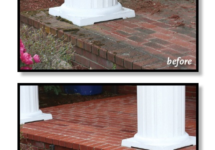 This photo shows the dramatic difference when you clean brick.