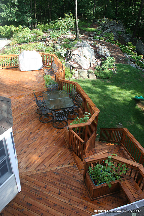 Port orford cedar deck with light brown penetraing oil
