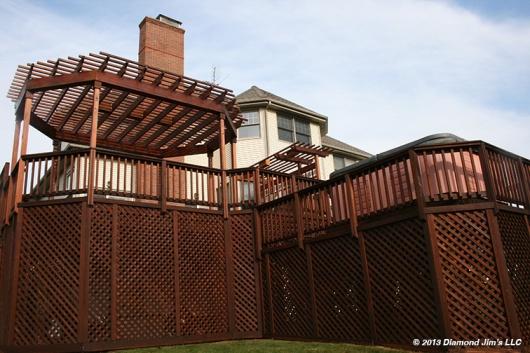Cedar lattice on mahogany deck