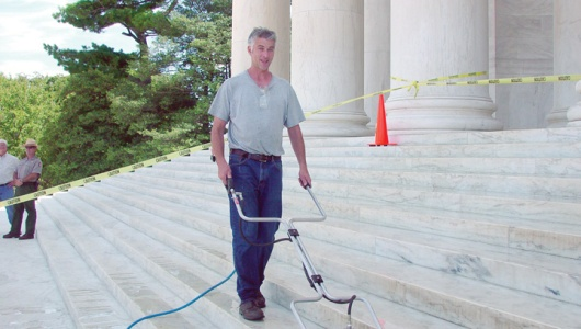 This is me cleaning the Stone of the Jefferson Memorial as part of a large volunteer project.