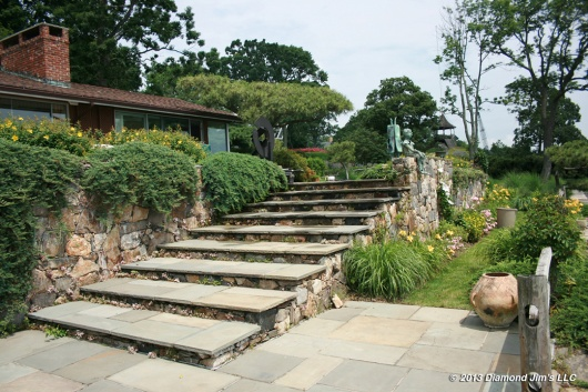 Bluestone steps and patio shown after cleaning the stone work.