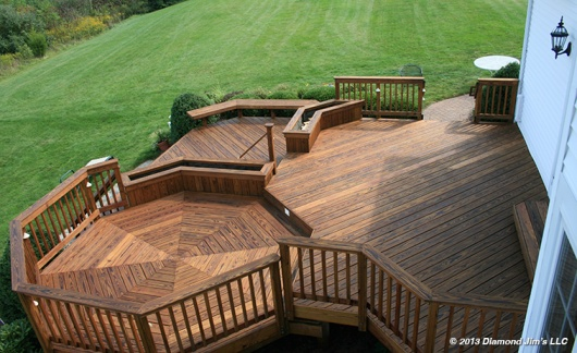Pressure treated deck in light brown