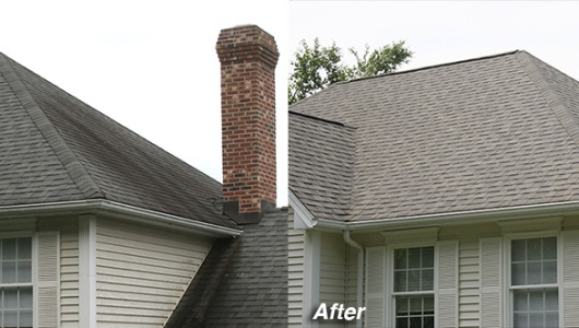 Photo of cleaning a roof with black streaks in Southbury, CT