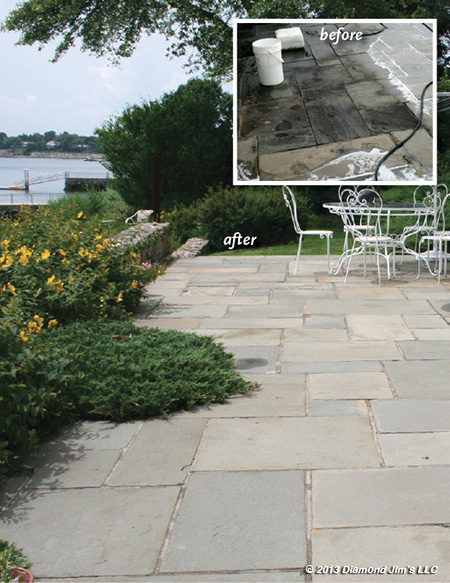 Before and after photo of cleaning a stone patio
