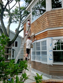 Oiling cedar house. Protecting the white trim with plastic.