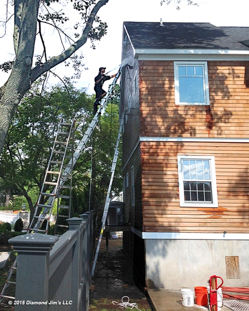 Cleaning cedar house on tight property lines in Greenwich, CT